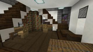 一階受付と閲覧室2:アムール村図書館