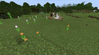 馬の群れの中に緑色のヤツが…