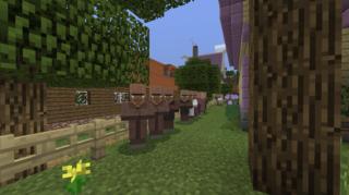 何故か牧場前に並ぶ村人さん