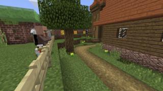 牧舎を見つめる羊飼いさんとニワトリ